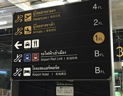 バンコク空港のエアポートリンクの案内板