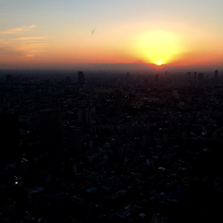 東京タワーからの日の入り-1
