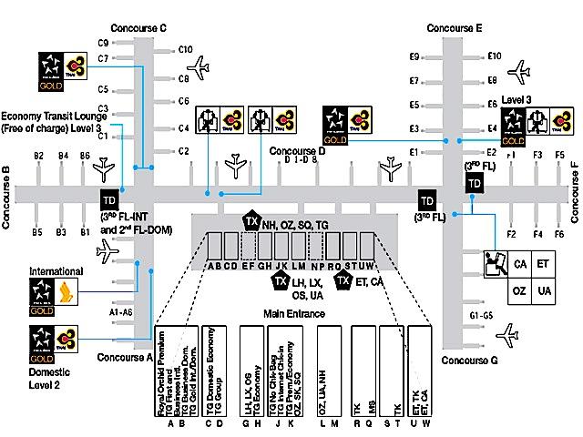 バンコク空港-タイ航空ラウンジ-ロイヤルシルク-MAP