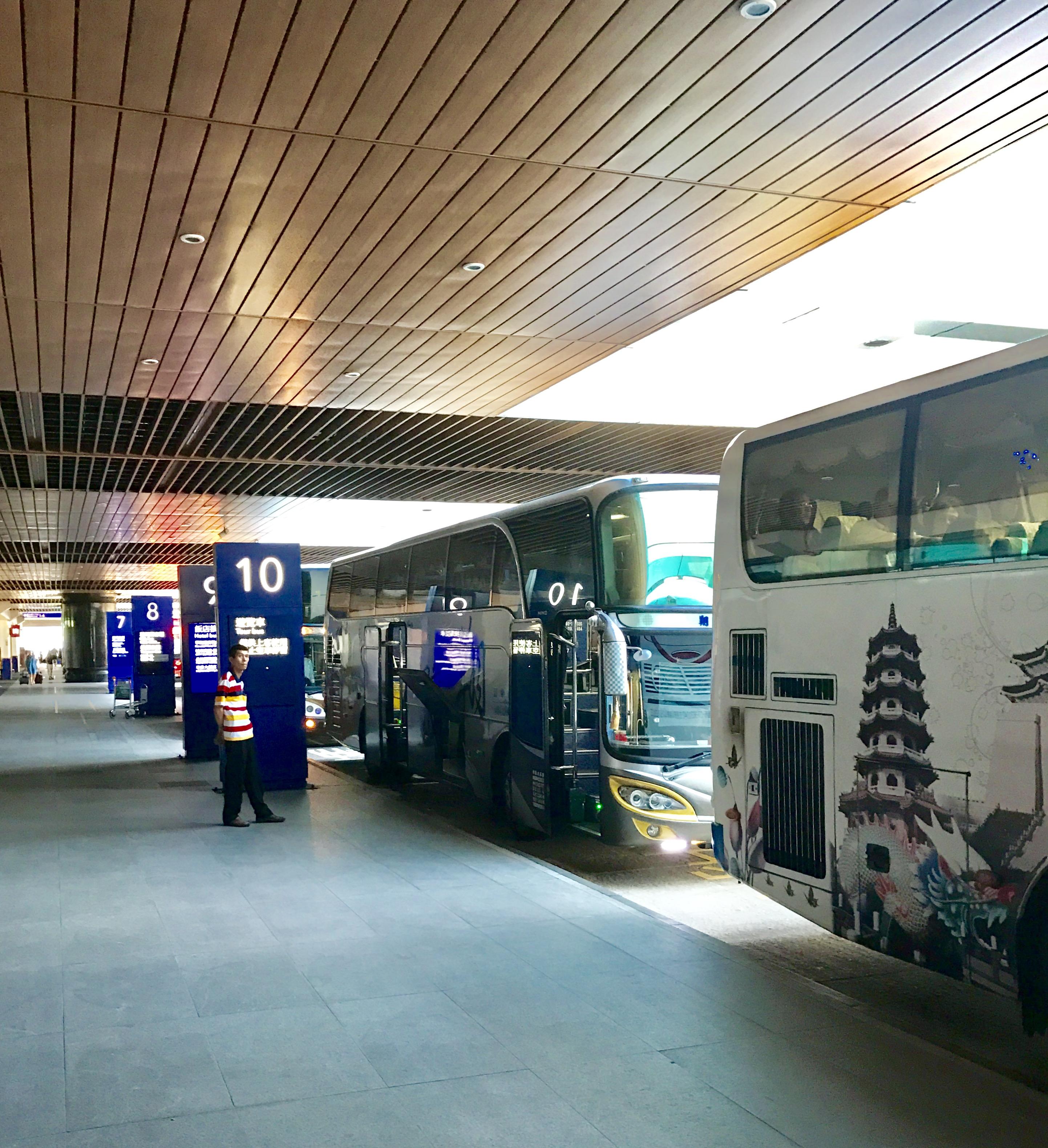 桃園空港からの移動-バスで台北駅へ-バス乗り場