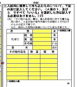 日本-帰国-税関カード-書類-書き方-4