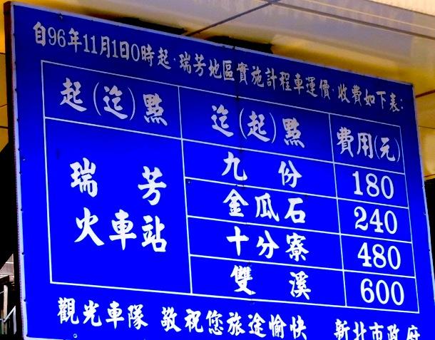 九份-アクセス-台湾-タクシー料金