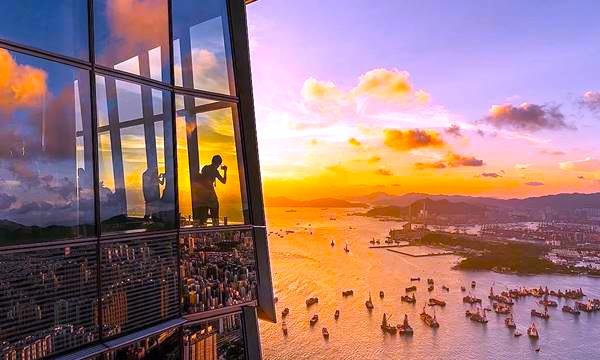 香港-展望台-景色-スカイ100-夕日
